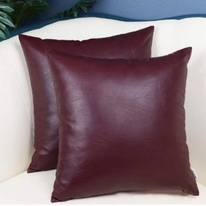 Faux Leather Pack of 2 Throw Pillow Covers NEW